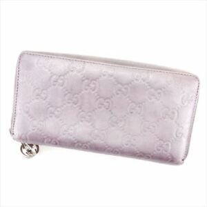 d83c438432c9 Gucci Wallet Purse Long Wallet G logos Purple Silver Woman Authentic ...