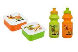 Kids-Lunch-Set-Boxes-Water-Bottles-Orange-Green-Dog-Cat-Fruit-School-Dinner-Pack