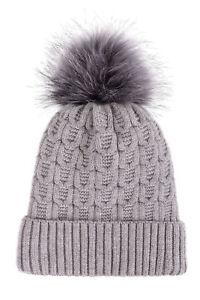 Winter Warm Thick Knitted Fleece Lined Beanie Women Fur
