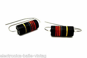 2x-EMERSON-CUSTOM-GUITAR-BUMBLEBEE-0-022UF-022UF-300V-PAPER-IN-OIL-CAPACITOR