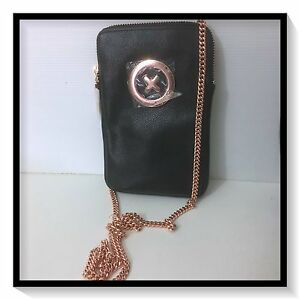 Mimco-SUPER-ZIP-TECH-SLING-WALLET-CLUCTH-PURSE-BAG-BNWT-BLACK-ROSEGOLD