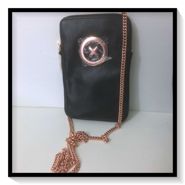 Mimco SUPER ZIP TECH SLING WALLET CLUCTH PURSE BAG BNWT BLACK ROSEGOLD