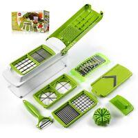 12pcs Vegetable Fruit Nicer Dicer Slicer Cutter Plus Container Chopper Peeler【us