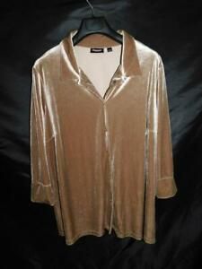 Avenue-Size-26-28-Brown-Velvet-Shirt-3-4-Sleeve-Button-Front-Blouse-Top-Woman