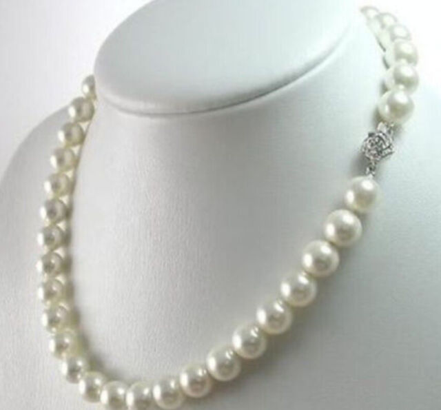 """10mm AAA White South Sea Shell Pearl Necklace 18"""" YY001"""
