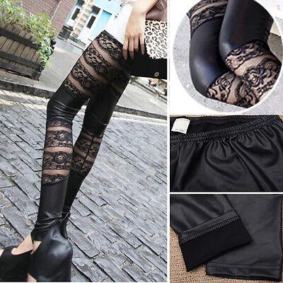 Vogue Woman's Gothic Punk Faux Leather Cut Out Lace Leggings Tights Pants Black