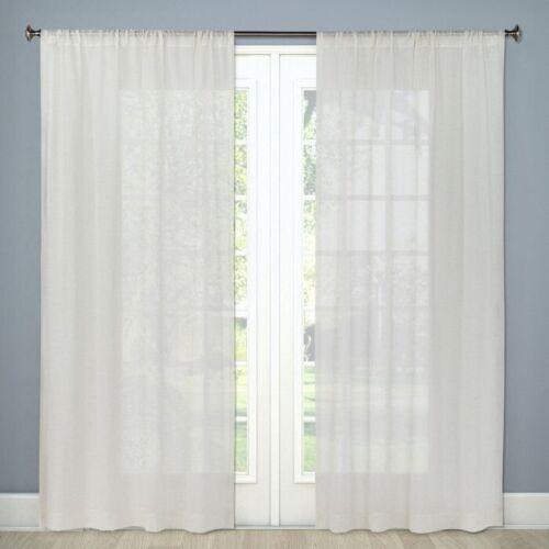 """2pk THRESHOLD Sheer Linen Curtain PanelNatural Linen84/""""x54/"""""""