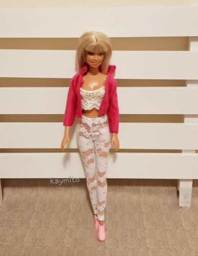 New quality white floral lace pants//leggings  For Your Barbie Dolls Au Made