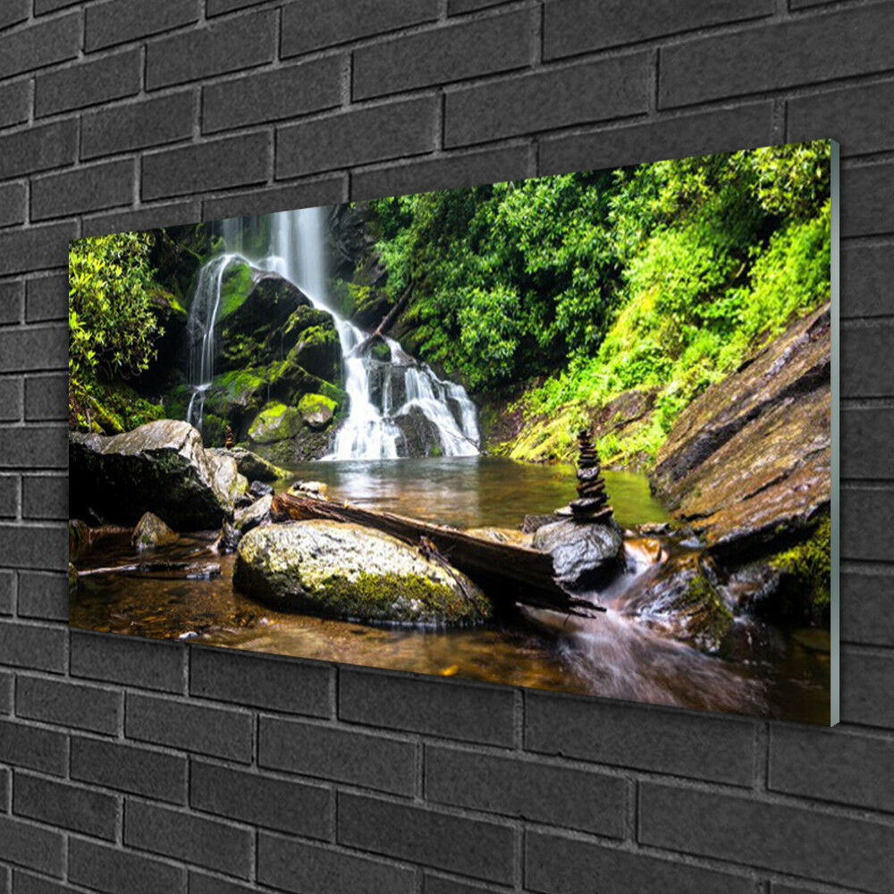 Tableau sur verre Image Impression 100x50 Nature Cascade Forêt Pierre