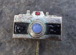 1950s Antique Meopta Mikroma II SLR 16mm Film Spy Camera Advertising Pin Badge