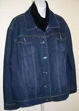 3X Women's Blue Identity Denim Trucker Jean Jacket BIG Aqua Rhinestone Buttons