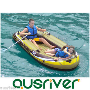 Single double inflatable boat kayak canoe blow up hold for Blow up boat for fishing