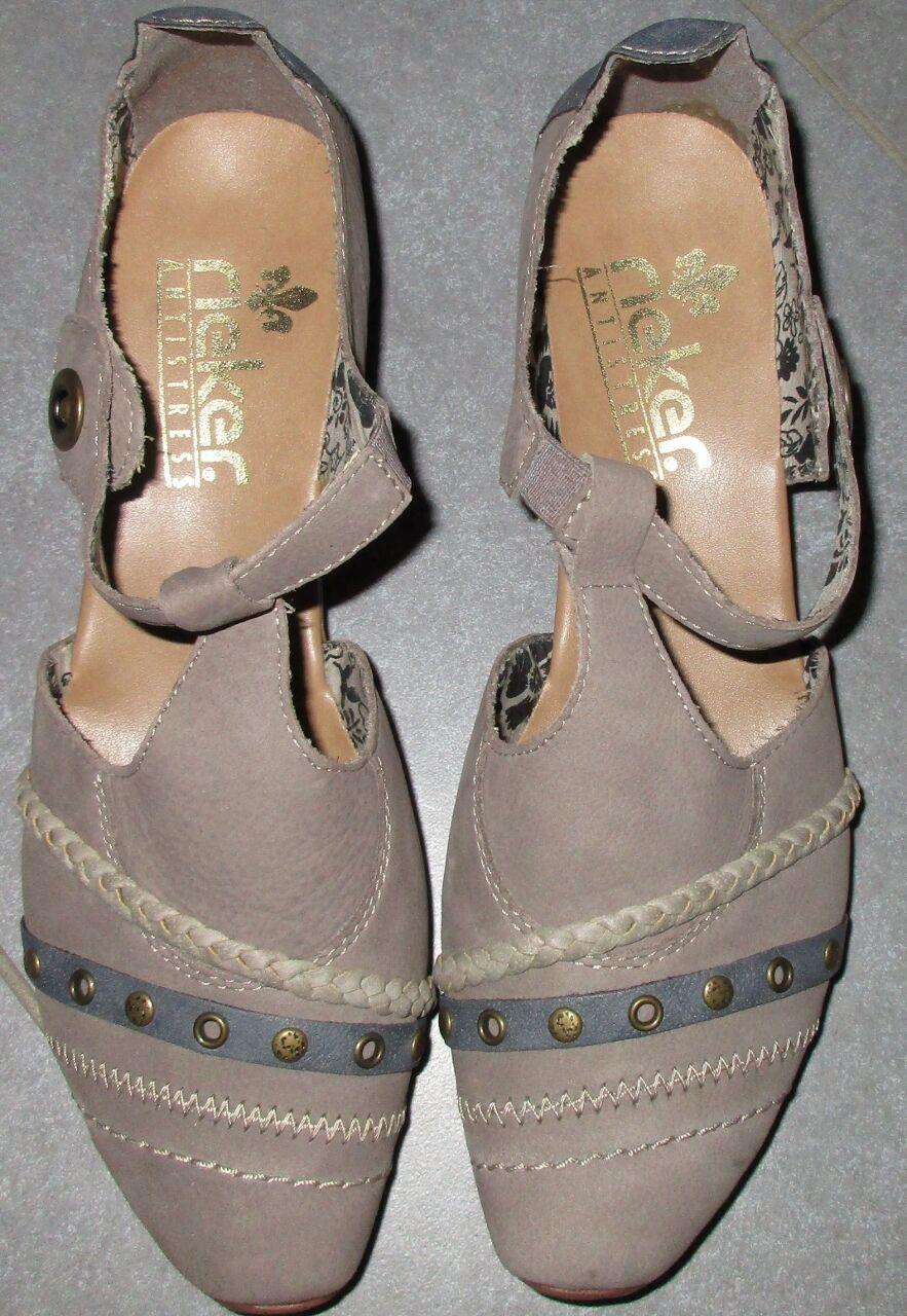 Rieker Schuhe Pumps Spangenpumps T-Spangenpumps grau taupe blau Gr. 40 Leder