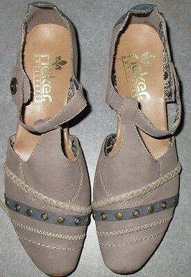 Rieker Schuhe Pumps Spangenpumps T Spangenpumps grau taupe