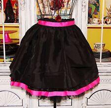 Betsey Johnson VINTAGE Dress Skirt BLACK Noir HOT PINK Full SKATER Layered 0 XS