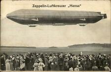 Dirigible Zeppelin Luftkreuzer Hansa & Crowd Leipzig Cancel Used Postcard