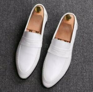 white wedding mens leather dress shoes pointy toe slip on