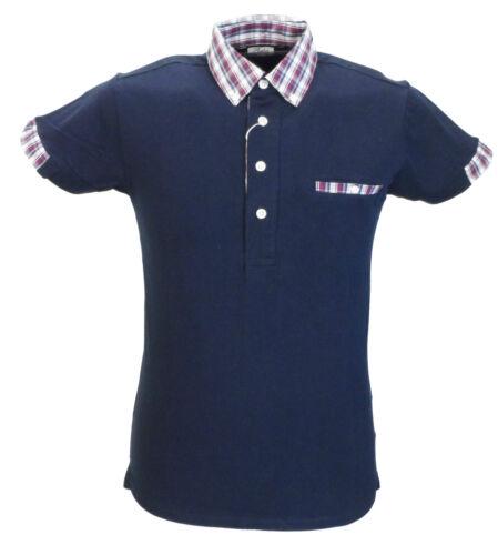 Relco Mens Navy Classic Mod Cloth Check Collar Polo Shirts