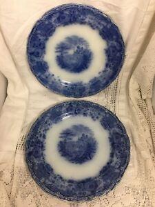 Two-Antique-Ridgeway-Flow-Blue-Plates-12-25