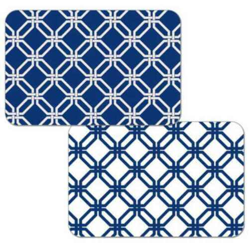 Blue Lattice Set of 4 CounterArt Reversible Plastic Placemats