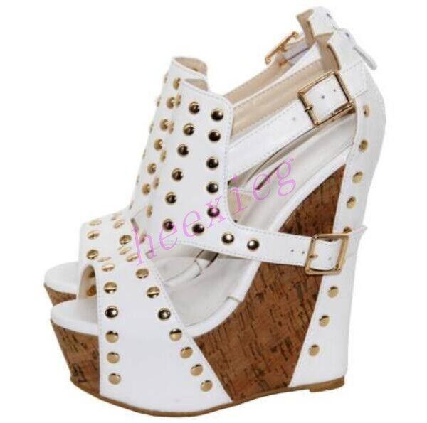 Womens Super Wedge High Heels Sandals Rivets Ankle Strap shoes Peep Toe White Sz