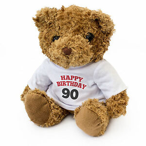 NEW - HAPPY BIRTHDAY 90 - Cute Soft Cuddly Teddy Bear Gift Present Birthday 90th
