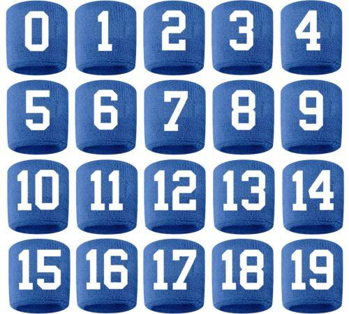 #0-19 Number Sweatband Wristband Football Baseball Basketball Royal Blue White
