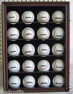 20-Baseball-Display-Case-Wall-Cabinet-Shadow-box-UV-Protection-Lock-B20-CH
