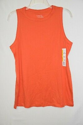 Time /& Tru  Women/'s Hi Neck Tank Top Shirt Large 12-14 Coral Zest Semi Fitted