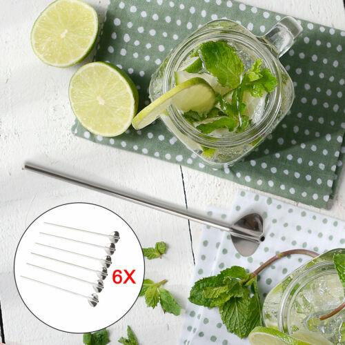 6x Trinkhalmlöffel Edelstahl Cocktaillöffel mit Trinkhalm Strohhalm Eislöffel DE
