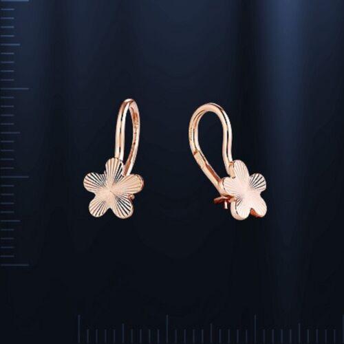 Russian Solid or rose 585//14k Enfants Fleur Boucles D/'oreilles Neuf avec étiquettes Différents Design!