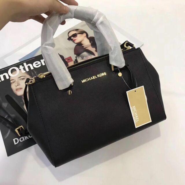 dc2483feb734 Genuine Michael Kors Small Sutton Saffiano Leather Satchel Handbag Black  sales