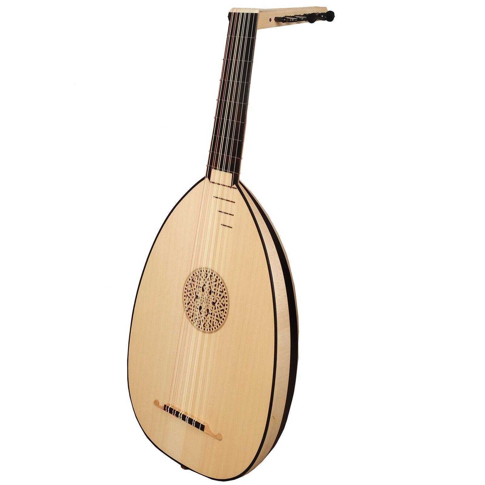 Muzikkon 6 Course Heartland Renaissance Lute Variegated Maple and Ebony