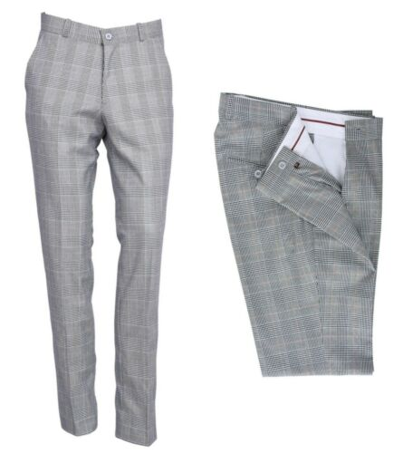 Classic Men/'s Retro Vintage Sta Press Trousers Mod 60s 70s Prince Of Wales Check