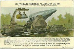 GERMAN-CANNON-420-Krupp-1914-TRAIN-ARTILLERY-WAR-WW1-ANTIQUE-POSTCARD