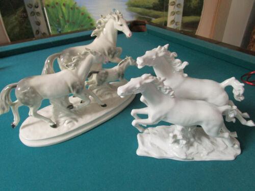 Porcelain Chine de Blanc HORSES SCULPTURES CARL SCHEIDIG Schaubach Kunst Wallend