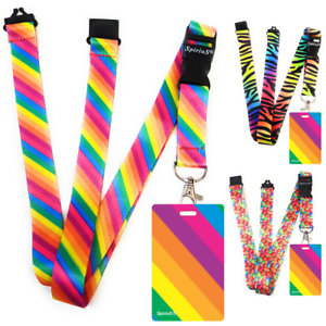 High-quality-ID-badge-holder-RAINBOW-STRIPES-amp-Secure-Lanyard-neck-strap-soft