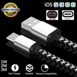 1M-2M-3M-Trenzado-USB-Cargador-Datos-Cable-Para-Type-C-Android-Micro-iPhone-8-7