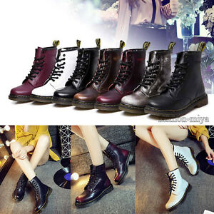 New-Women-039-s-Martin-Combat-Boots-Casual-Antiskid-Leather-Round-Toe-Low-Heel