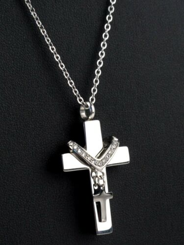 NEW Collet Cross Cremation Jewelry Keepsake Memorial Urn Ash Holder Necklace