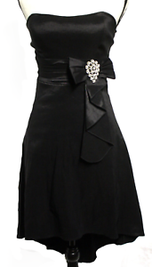 La Scala damen Med schwarz Stretch Tafetta HI Lo Strapless Bow Evening Prom Dress