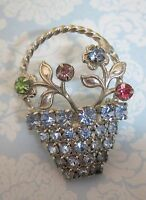 Vintage Silver Tone Flower Basket Brooch Pin Colored Rhinestones Great Shape SHP