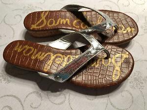 SAM EDELMAN Womens Tanya Sil Cork Wedge Low Heel Thong Sandals Size 7.5 Cute!