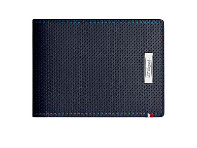 S.T. Dupont Défi Perforated Wallet, Leather, Blue, 6 Cards, 170601