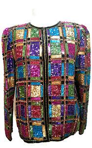 Vintage-Laurence-Kazar-Sequin-Beaded-Womens-Silk-Jacket-Size-Medium-Multi-Color
