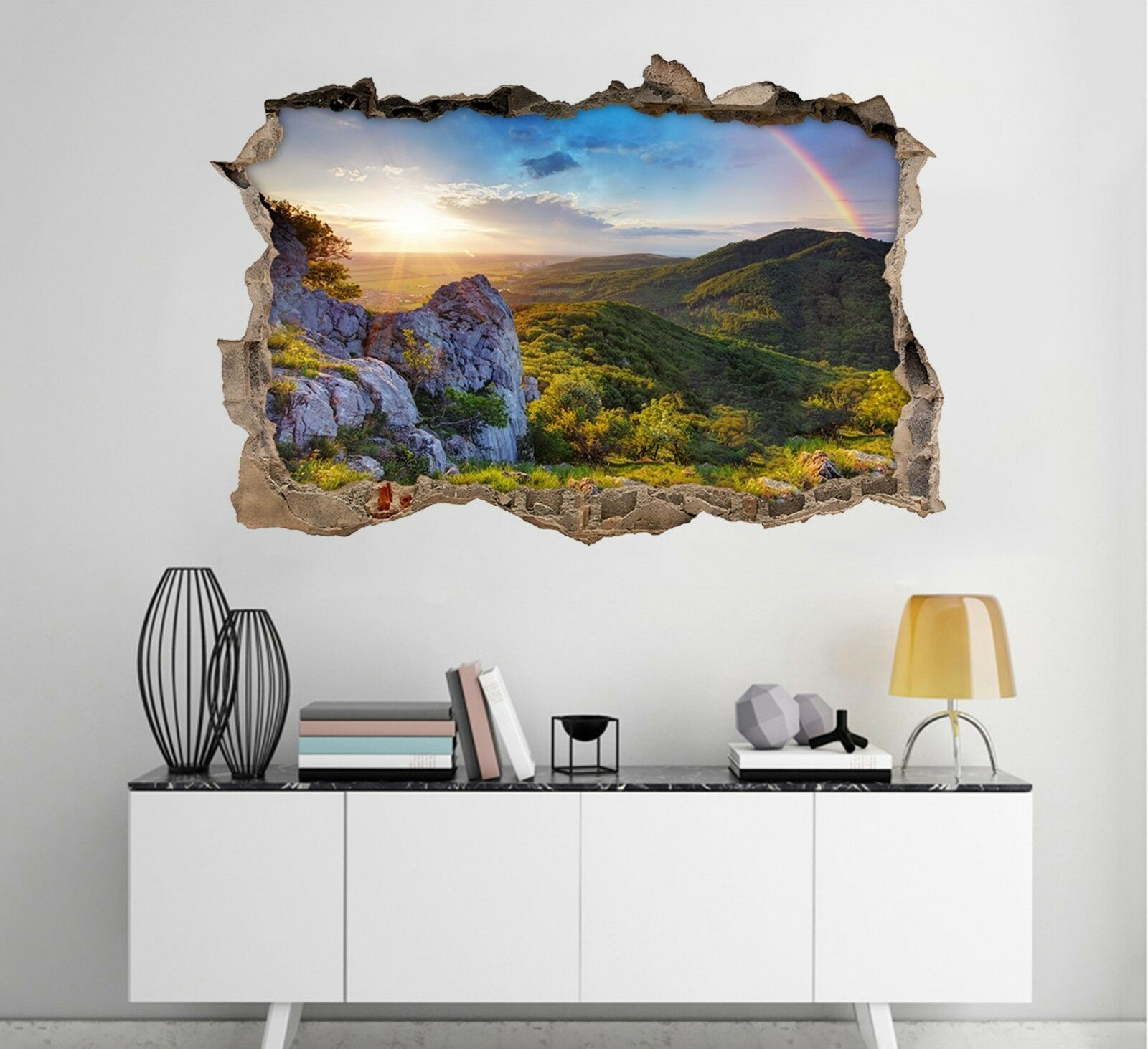 3D Montagna Arcobaleno Parete Murales Adesivi Decal Sfondamento AJ WALLPAPER IT