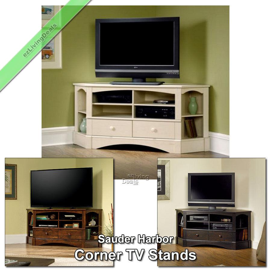 corner tv stand wood 60 console table sauder credenza stands for flat screens ebay. Black Bedroom Furniture Sets. Home Design Ideas