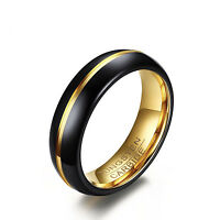 6mm Tungsten Carbide Black Gold Line Wedding Ring Engagement Band Al3072