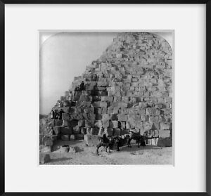Photo: Climbing Cheops, Greatest Pyramid, Egypt, c1896, Tourists, Guides, Camels