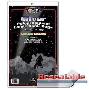 200 BCW Silver Age Comic THICK RESEALABLE Bags / Sleeves 7 1/4 x 10 1/2 Poly
